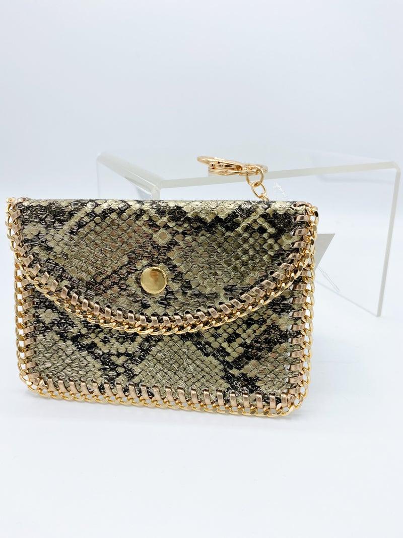 Snakeskin Gold Chain Card Holder