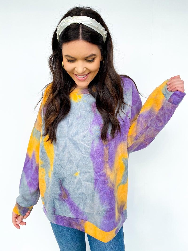 Mambo Tie Dye Mardi Gras Sweatshirt