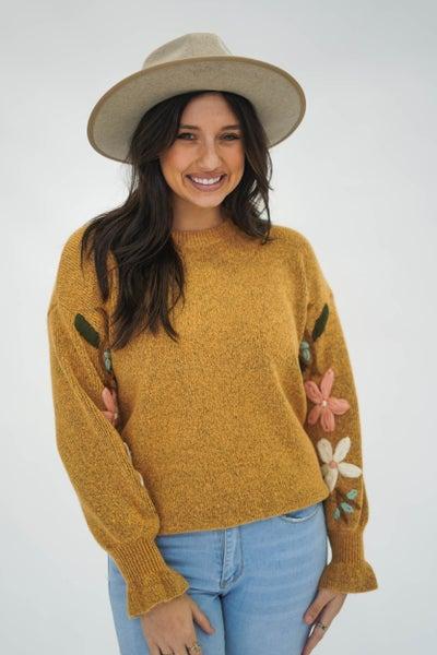 Pocket Full Of Posies Mustard Sweater