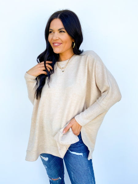 Kicked Back Oversized Relaxed Longsleeve - Beige