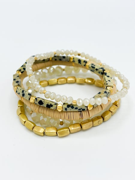 Larisa Speck Beaded Bracelet Stack W/ Gold