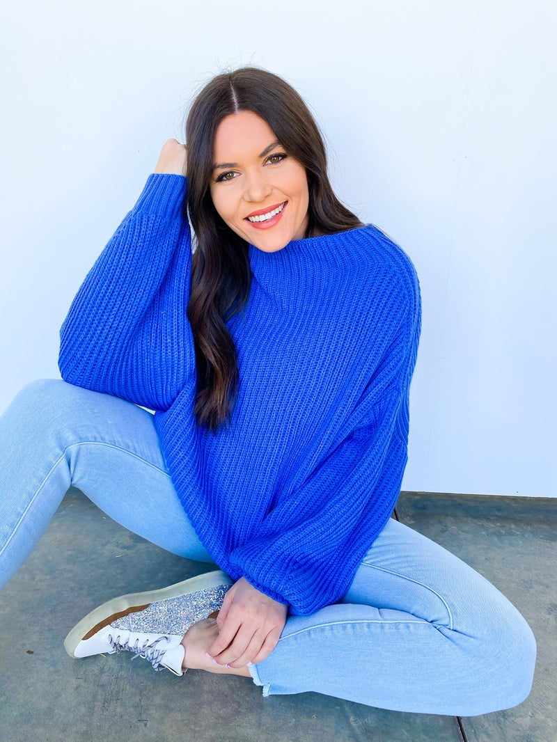 Royal Treatment Over Sized Sweater Blue