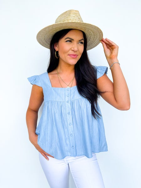 By The Bay Ruffle Top - Sky