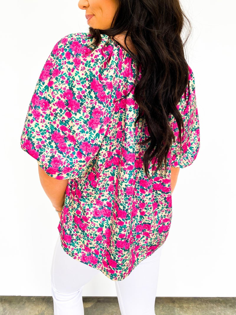 In Bloom Button Blouse