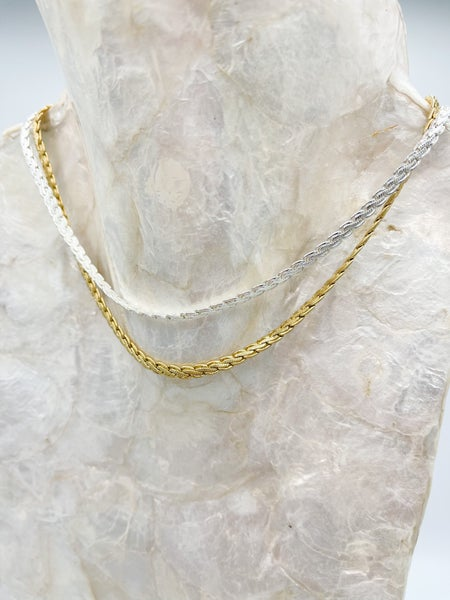 Drex Braided Herringbone Detail Necklace