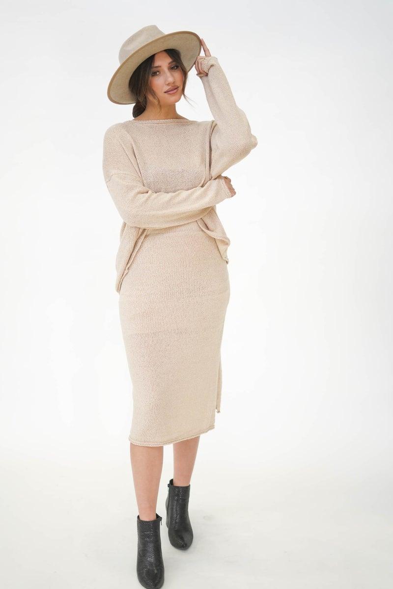Uptown Girl Sweater Skirt Set Natural