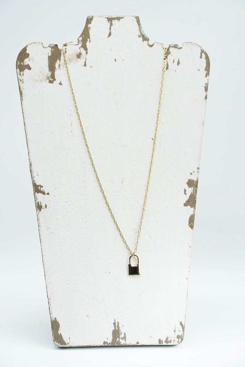Heart On Lock Dainty Gold Necklace