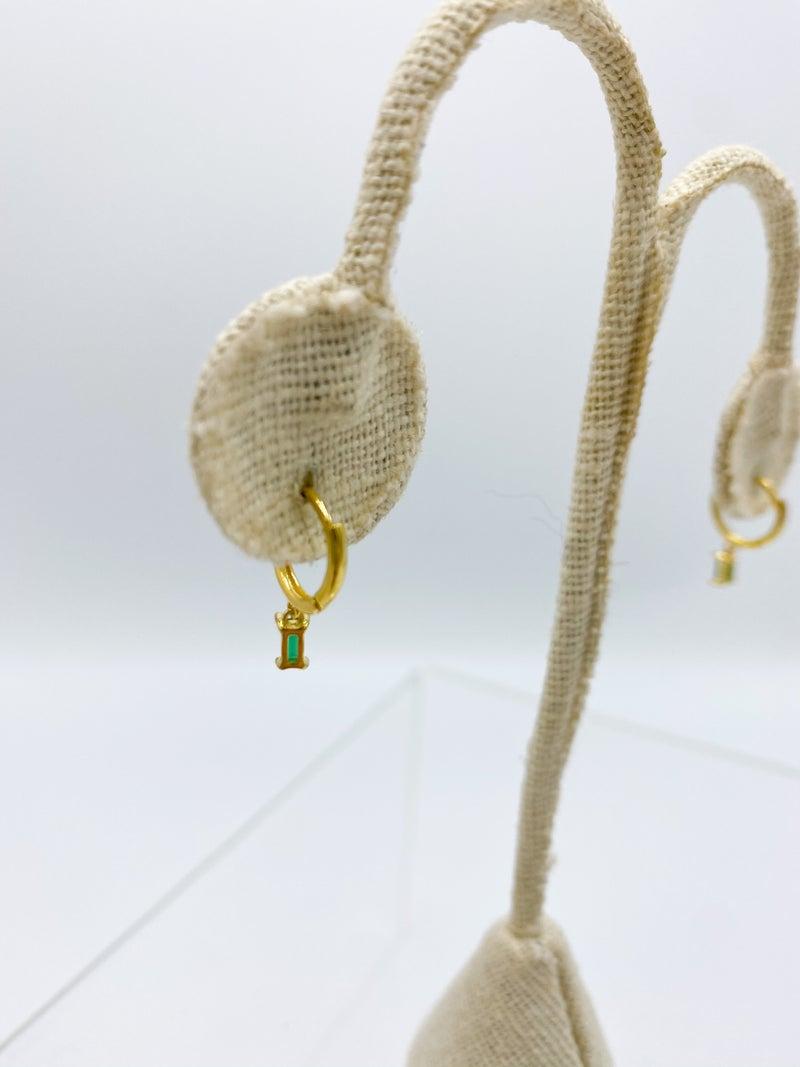 Emerald/Gold Plated CZ Dangle Earrings STERLING SILVER *Final Sale*