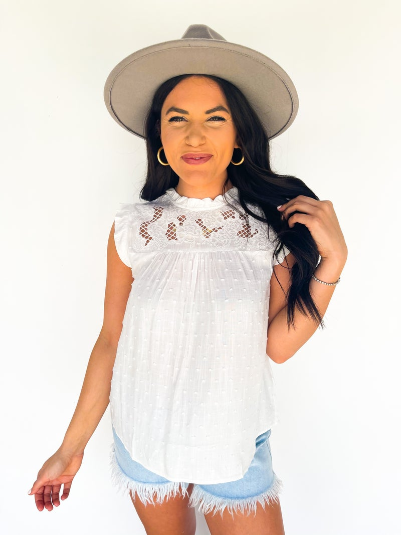 Vivienne White Lace High Neck Top