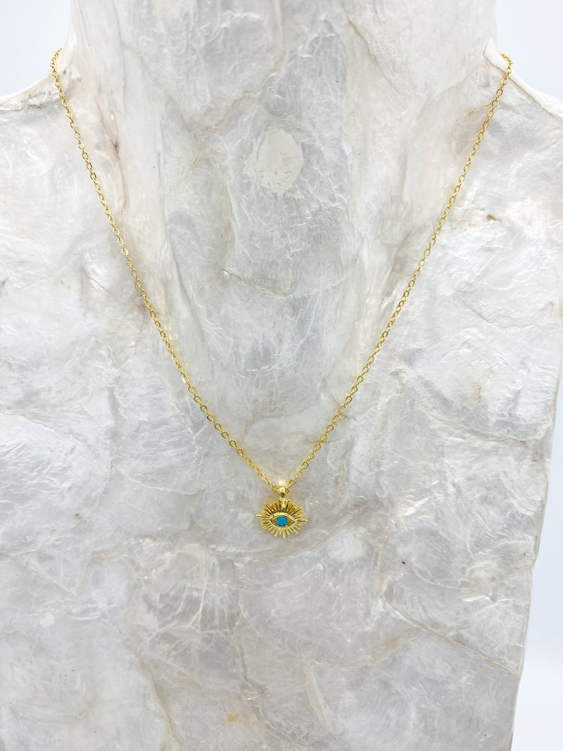Gold Turquoise Evil Eye Pendant Necklace *Final Sale*