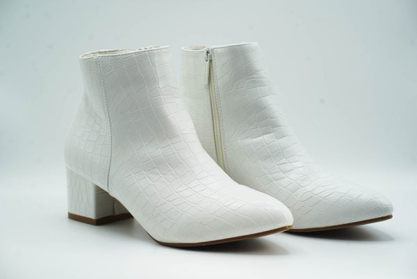 Sabrina White Snake Ankle Bootie