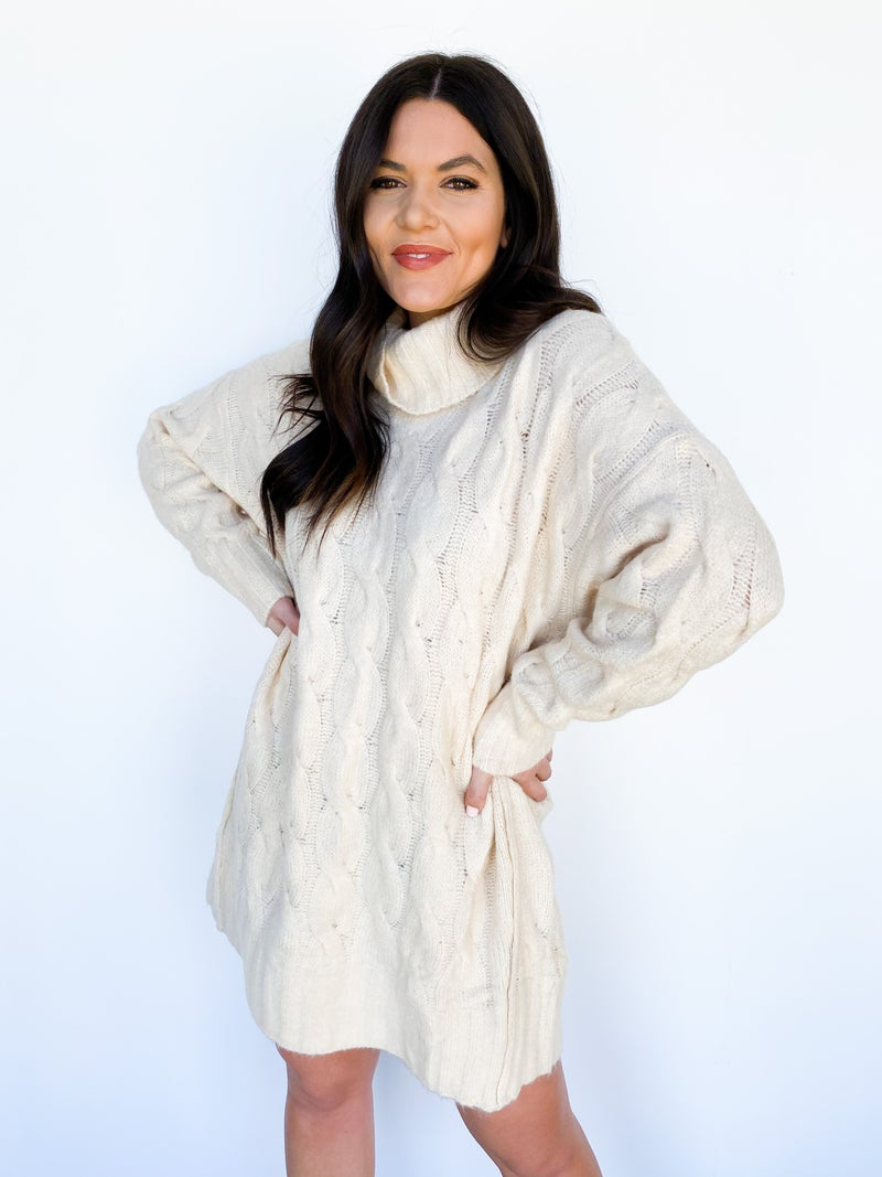 Chunky Knit Turtle Neck Sweater Dress - Cream