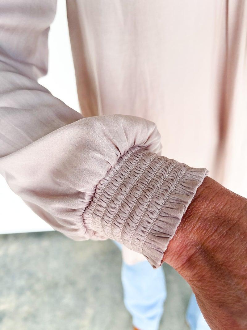 Girl Boss Taupe Silky Blouse W/ Elastic Wrist