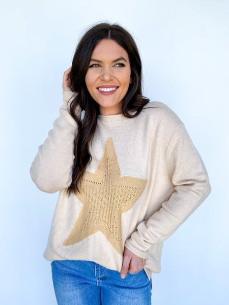 Staring At The Stars Sweater Cream/Ivory