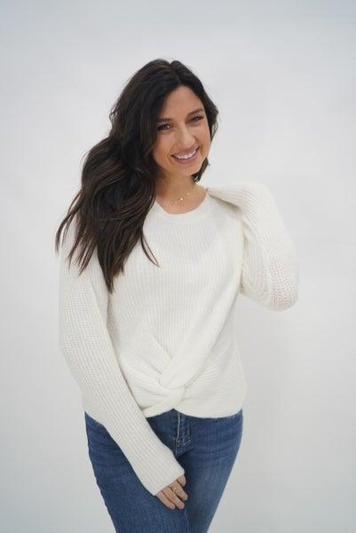 Twist Front Sweater Cream