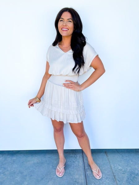 Sincerely Smocked Ruffle Dress - Ivory