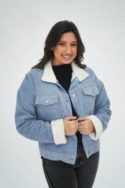 Southern Sweetie Faded Denim/Sherpa Jacket