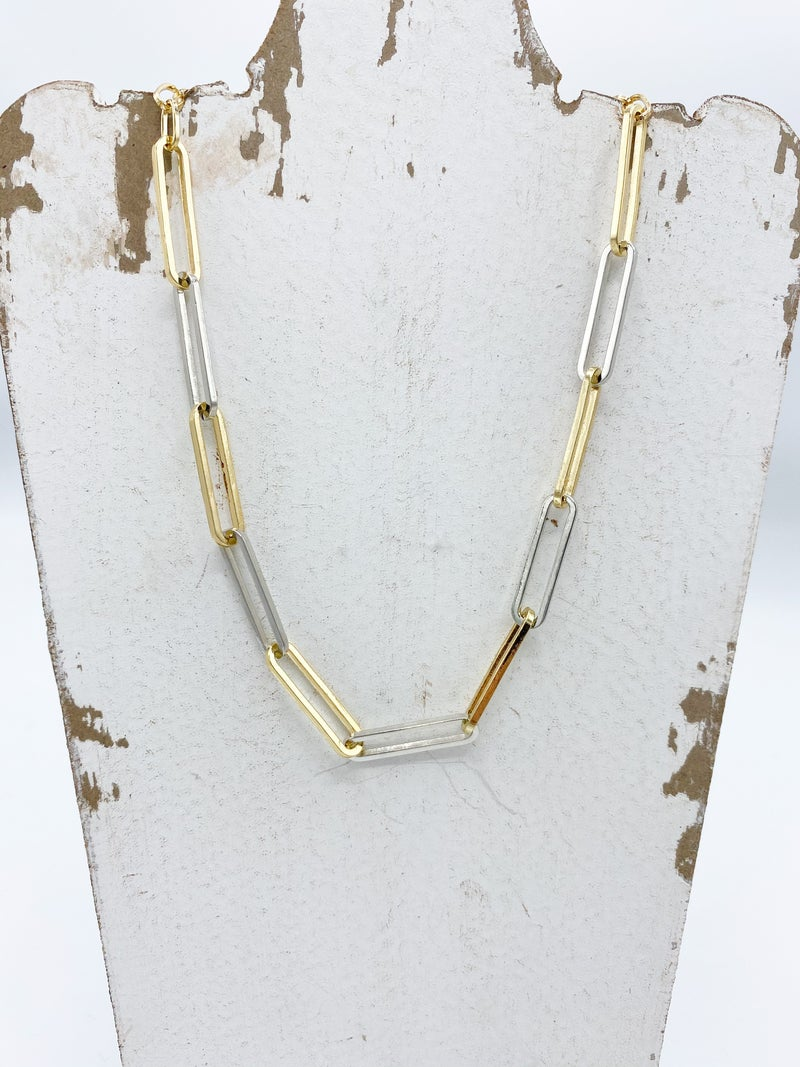 Two Tone Paperclip Necklace