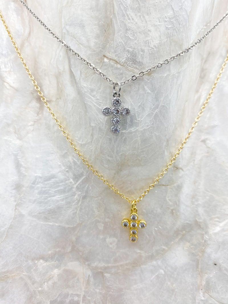 14k Plated Pave Cross Pendant Necklace *Final Sale*