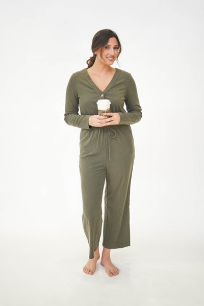 Sweet Saturdaze Button Jumpsuit Olive