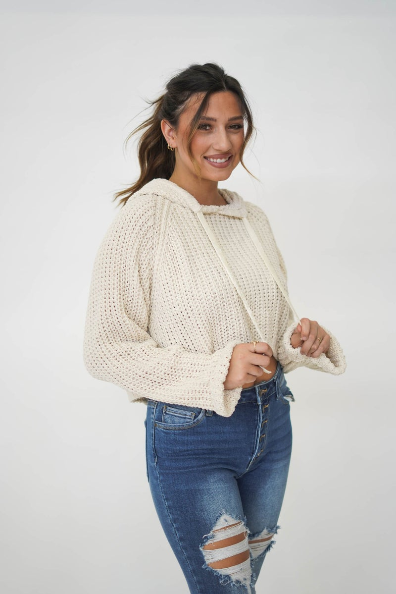 Collins Cropped Sweater Hoodie Cream