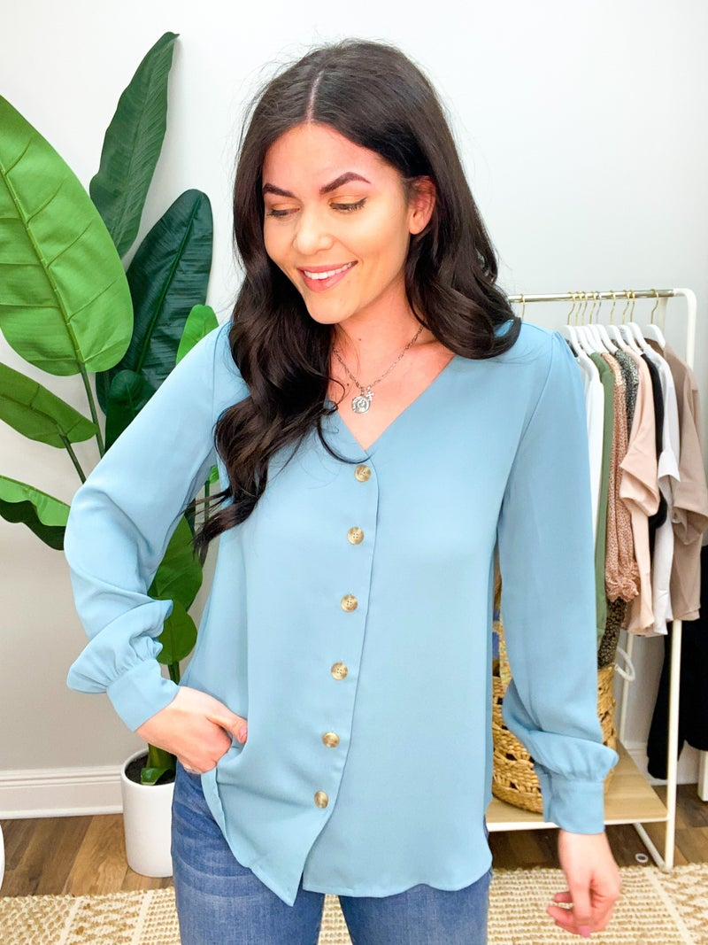 She's A Boss Button Down Blouse - Stone Blue