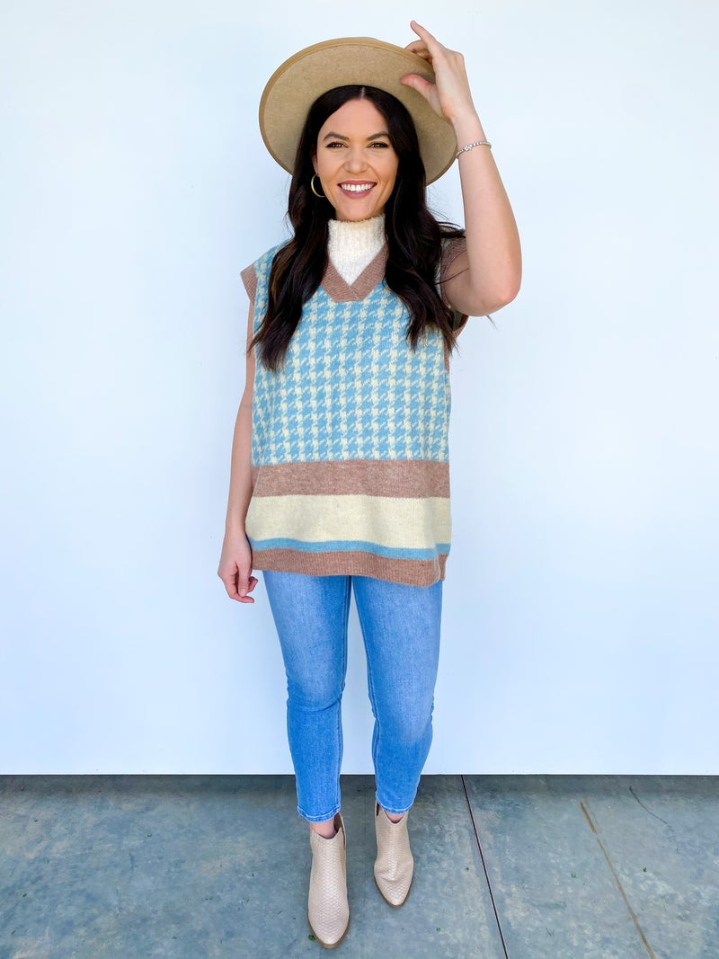 QUINN Sweater Vest Blue/Taupe
