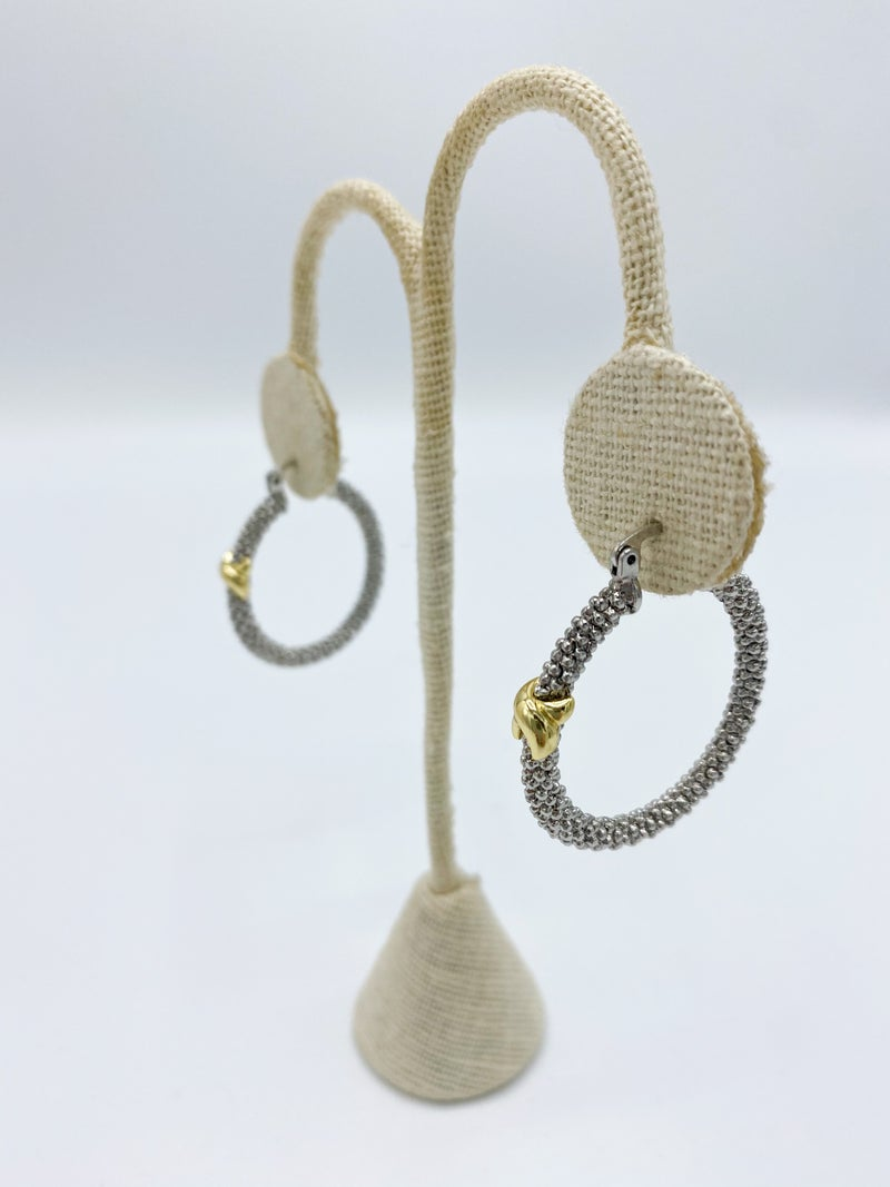 "Two Tone Textured 1.25"" X Hoop Earring *Final Sale*"