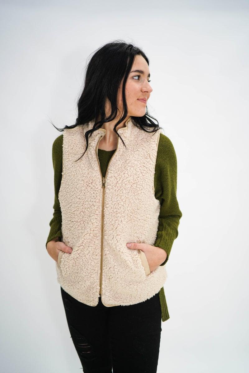 Reversible Beige Fur Vest *Final Sale*