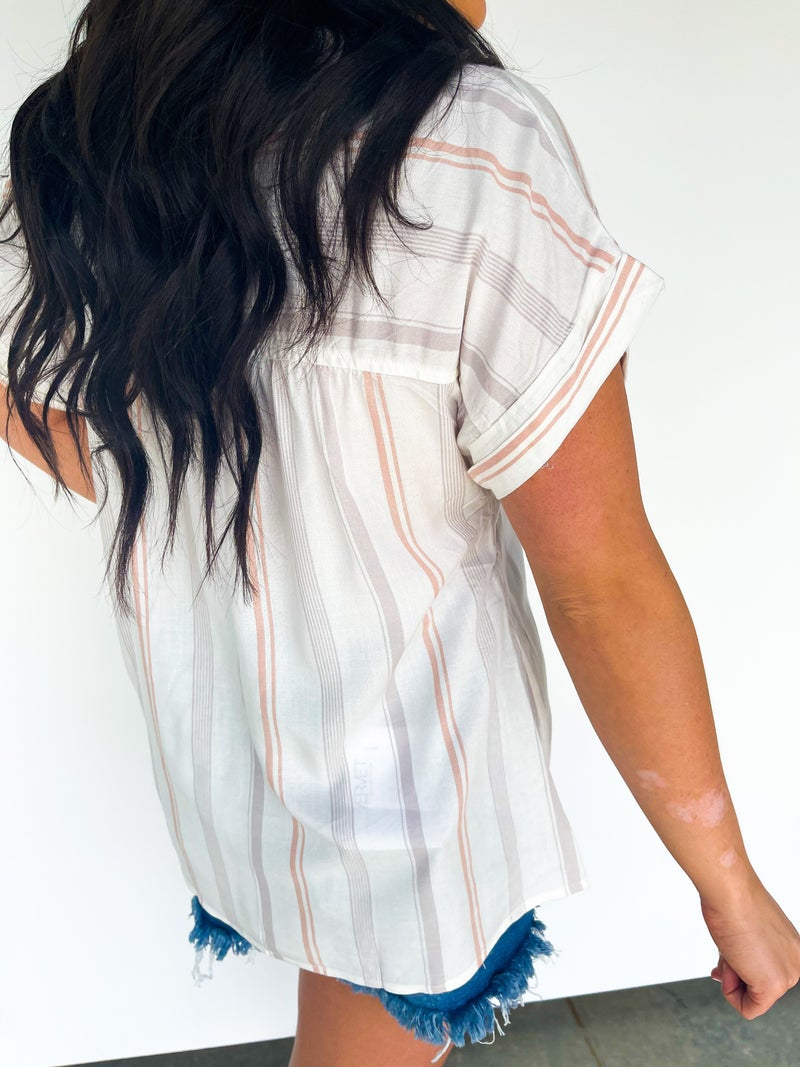 Gone With The Tide Stripe Shortsleeve Top W/ Strings