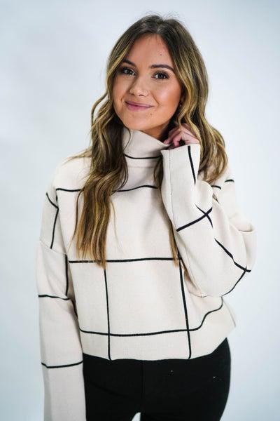 She Means Business Grid MockNeck Sweater