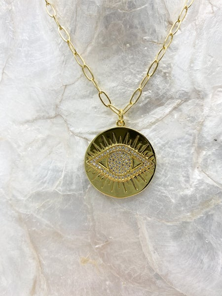 14k Gold Plated Evil Eye Chain Link Pendant Necklace *Final Sale*