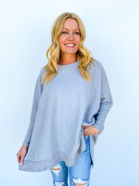 Kicked Back Oversized Relaxed Longsleeve - Light Grey