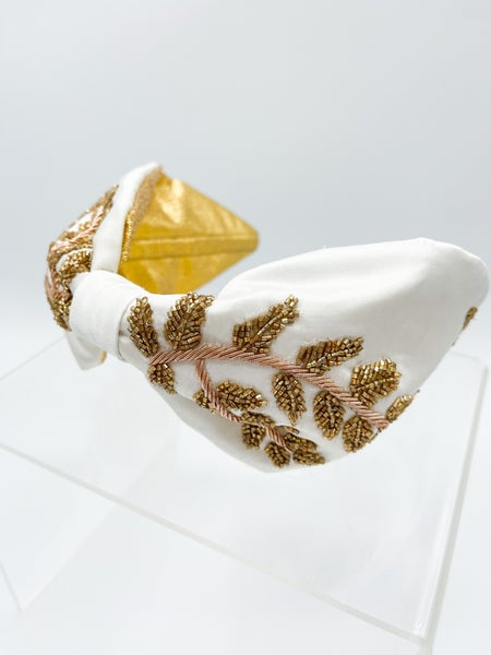 Greek Goddess Silk Beaded Headband