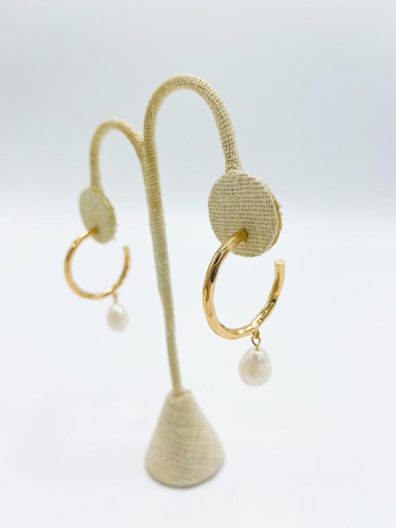 Tallula Hammered Hoop W/ Pearl Drop *Final Sale*