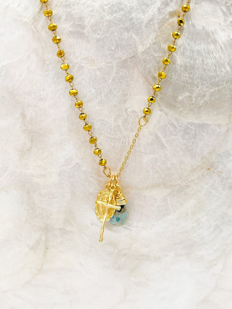 Long Beaded Charm Necklace With Blessed Mother