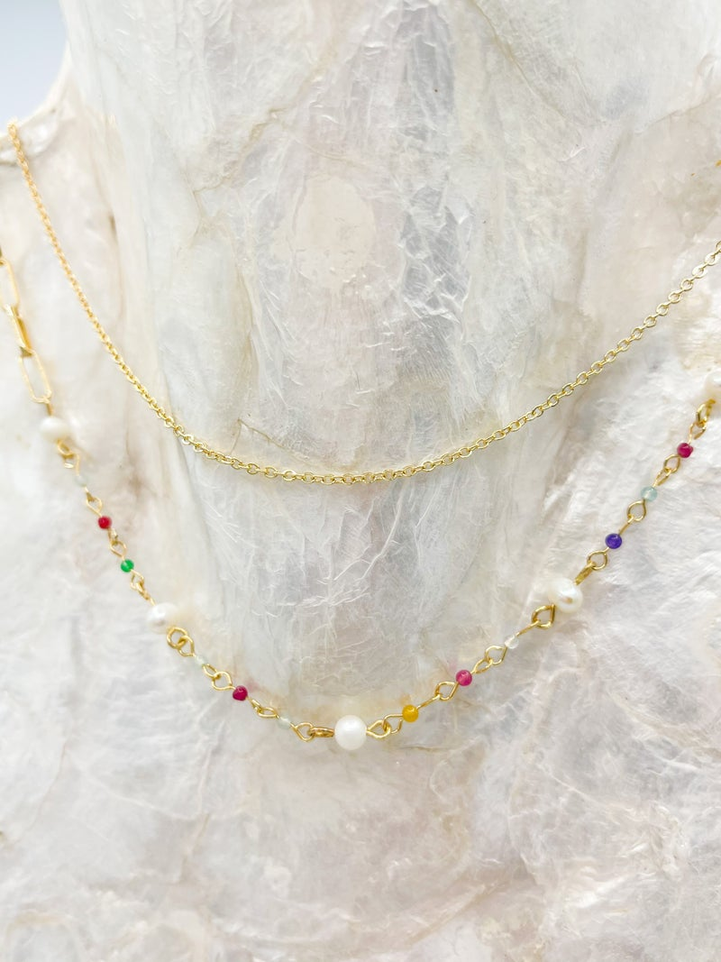 Dally Rainbow Pearl Dainty Layered Necklace