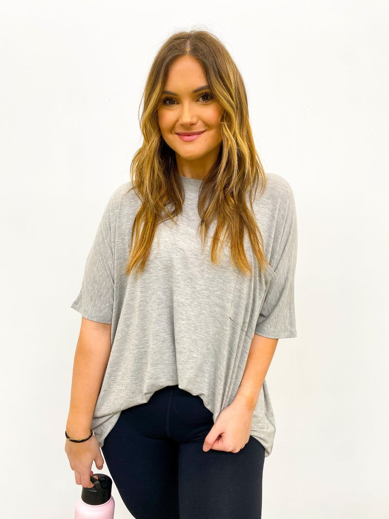 Day Off Oversized Pocket Top - Heather Grey