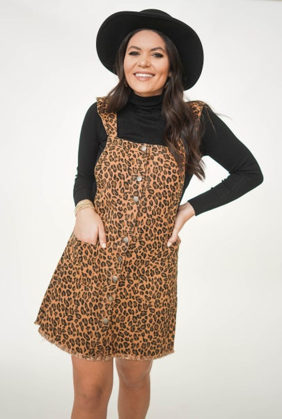 Kiss And Tell Cheetah Overall Dress *Final Sale*