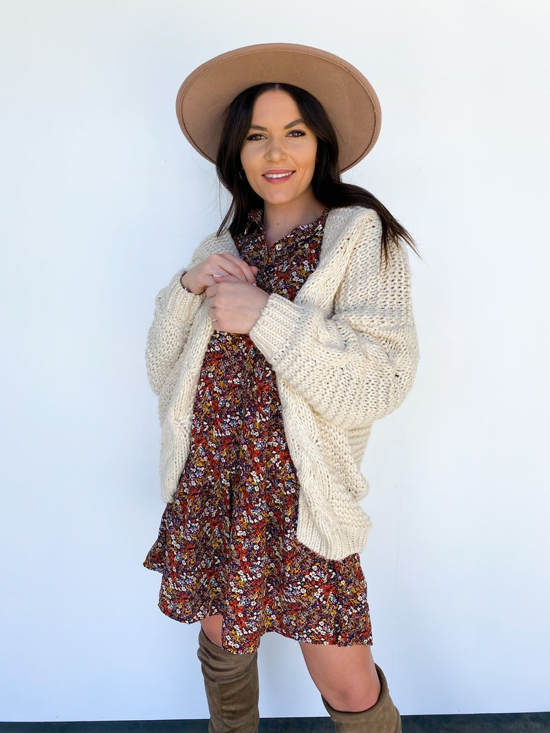 Callie Cable Knit Cardigan Oatmeal