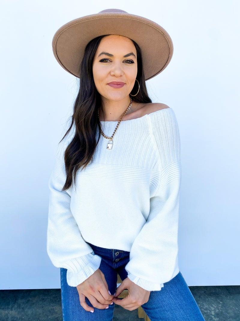 The Collette Cold Shoulder Sweater White