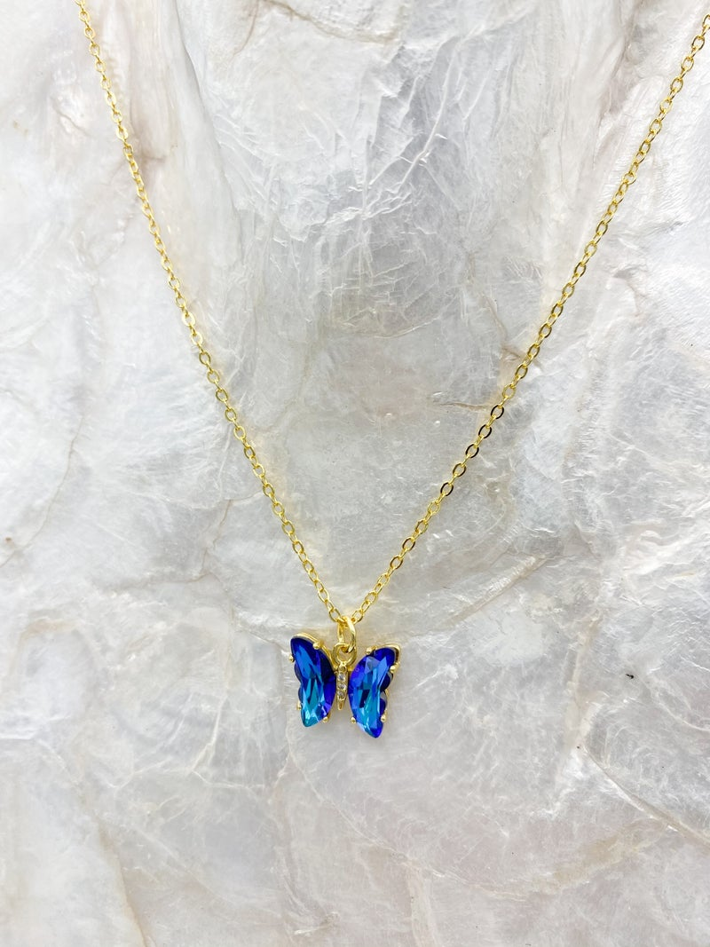 14k Gold Plated Blue Crystal Butterfly Pendant Necklace *Final Sale*