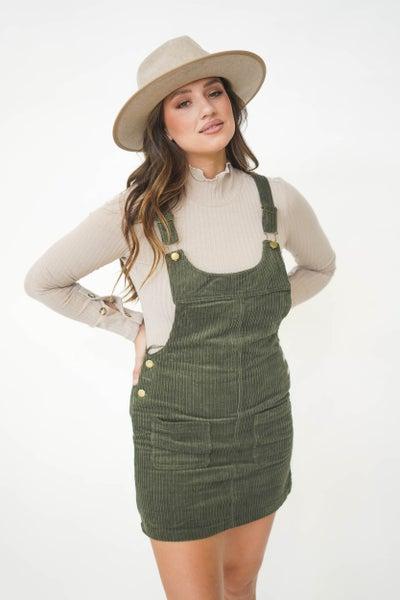Sweet Pineneedle Corduroy Overall Dress