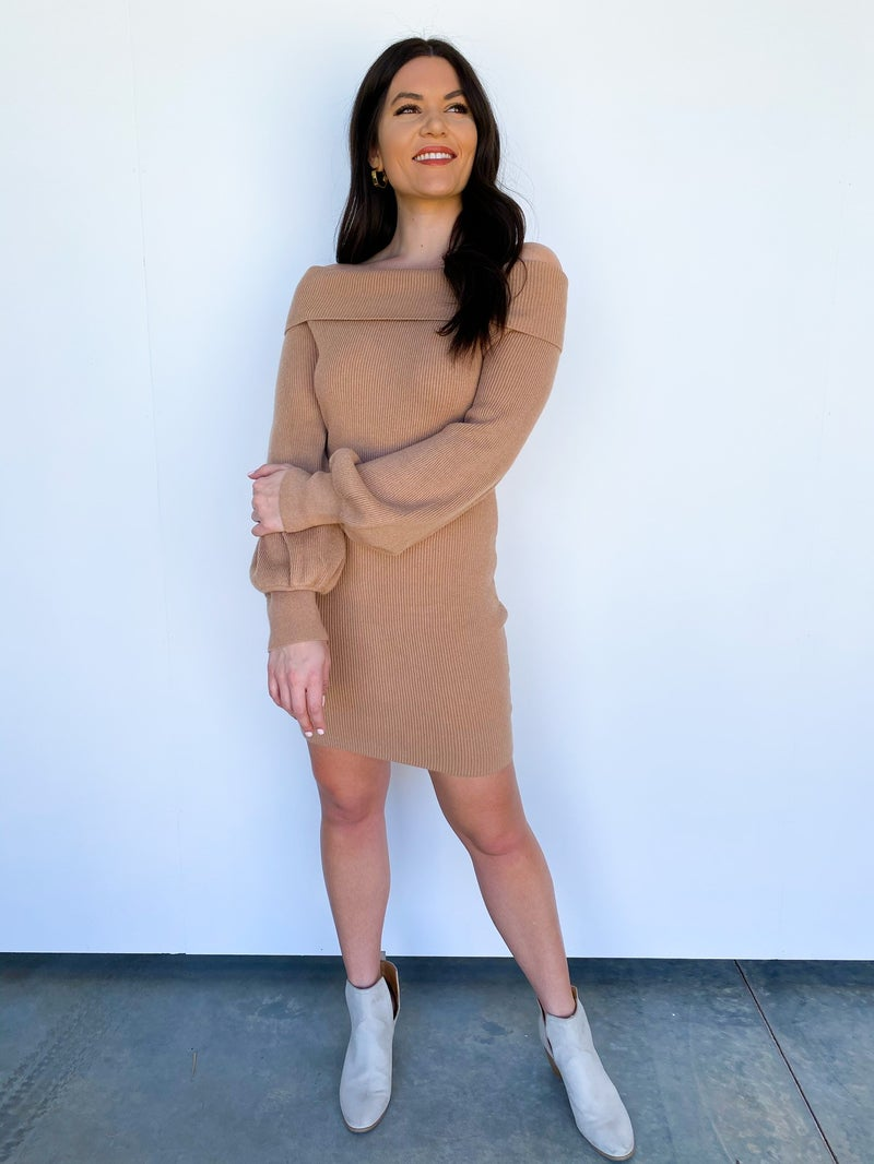 The Perry Off Shoulder Sweater Dress