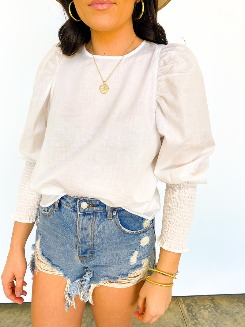 The Seerie Balloon Sleeve Top