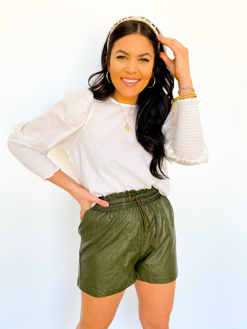 The Marley Ruffled Faux Leather Shorts