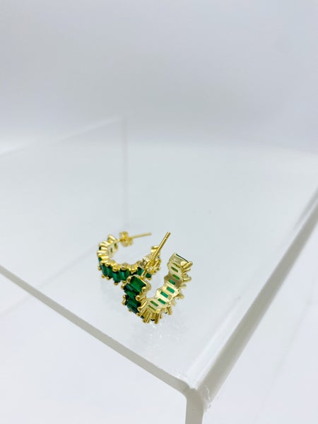 Gold Emerald Green CZ Baguette Earring STERLING SILVER *Final Sale*