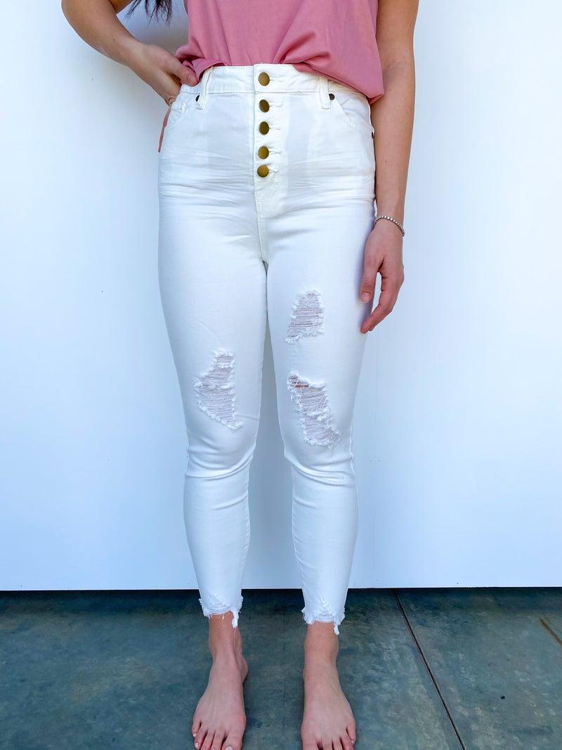 KALI White Distressed 5 Button Jean