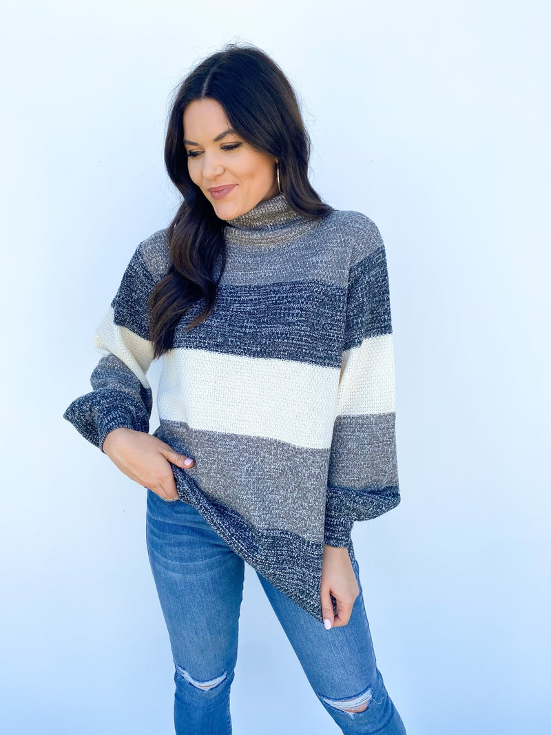 Say Yes To Stripes Sweater - Navy
