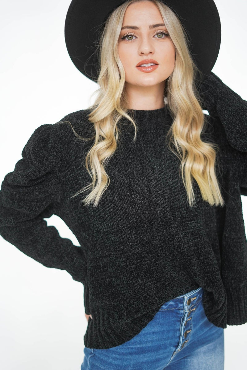 Peppermint Please Puff Sleeve Chenille Sweater